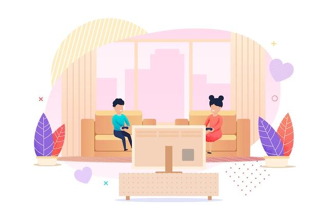 Enfants jouant aux jeux vidéo cartoon illustration Vecteur Premium