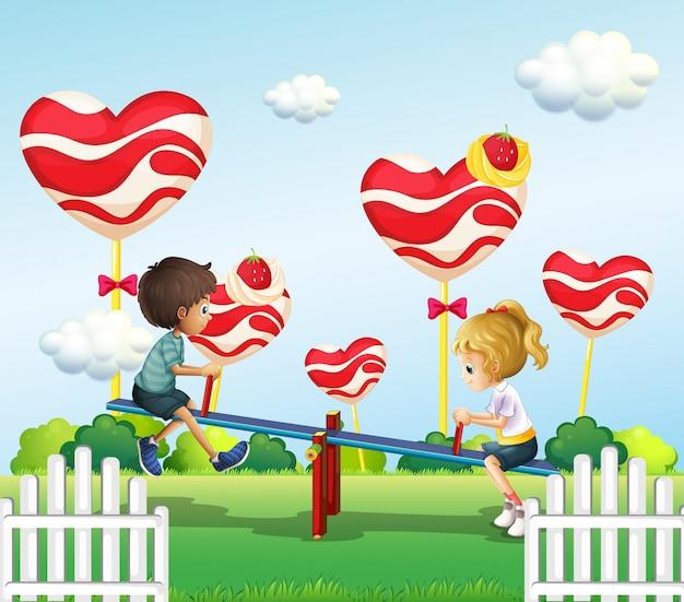 Enfants jouant avec la bascule dans la cour de récréation Vecteur gratuit