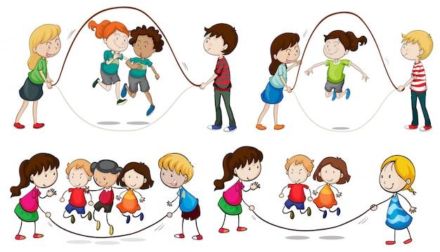 Enfants jouant à la corde à sauter Vecteur Premium