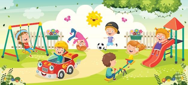 Enfants Jouant Dans Le Parc Vecteur Premium