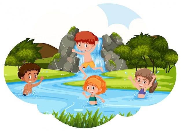 Enfants Jouant Dans La Rivière Vecteur Premium