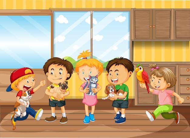 Enfants Jouant Dans Le Salon Vecteur gratuit