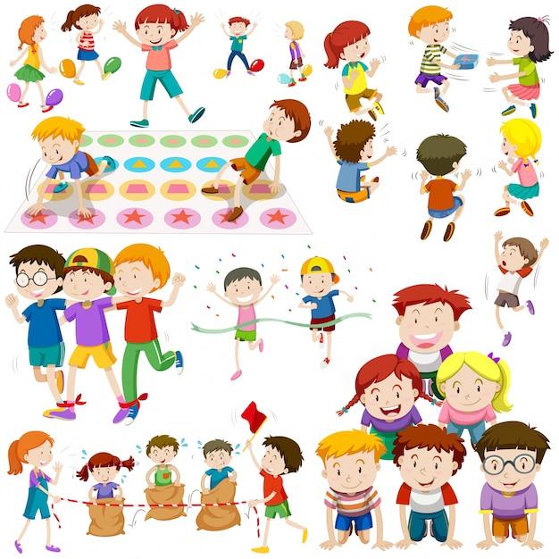 Enfants Jouant à Différents Types De Jeux Vecteur Premium