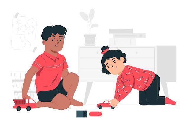 Enfants Jouant Avec Illustration De Concept De Jouets De Voiture Vecteur gratuit