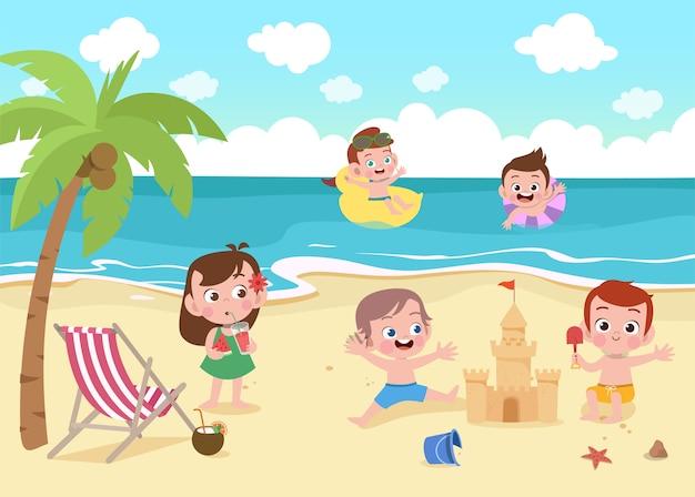 Enfants jouant sur l'illustration de la plage Vecteur Premium