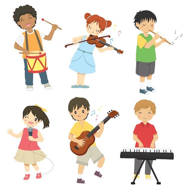 Enfants Jouant Des Instruments De Musique Vecteur Premium