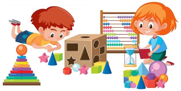 Enfants jouant avec des jouets mathématiques Vecteur Premium