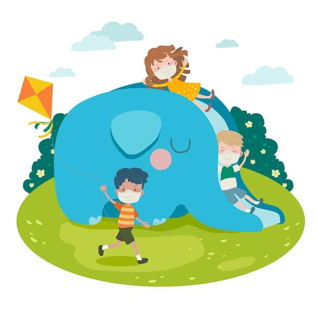 Enfants Jouant Avec Des Masques Médicaux Vecteur gratuit