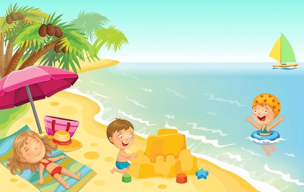 Enfants jouant sur la plage. Vecteur Premium