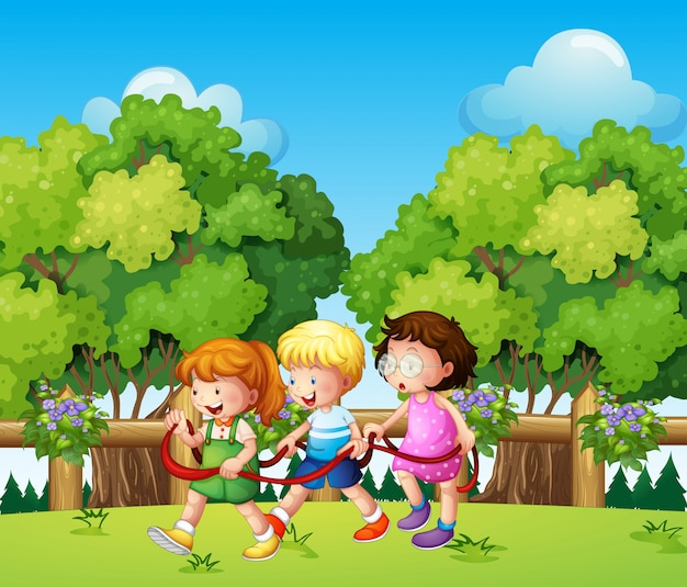 Enfants jouant en plein air pendant la journée Vecteur gratuit