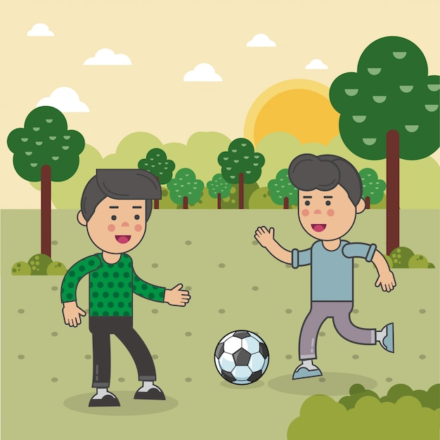 Les Enfants Jouent Au Football Vecteur Premium