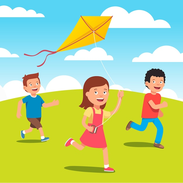 Les enfants jouent avec le cerf-volant ensemble à la prairie Vecteur gratuit