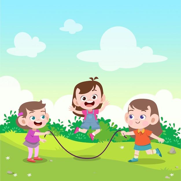 Enfants jouent à la corde à sauter dans l'illustration vectorielle jardin Vecteur Premium