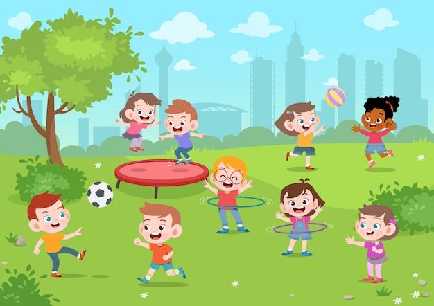 Les enfants jouent dans l'illustration vectorielle de parc Vecteur Premium