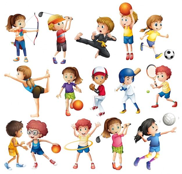 Les enfants jouent à divers sports sur blanc Vecteur gratuit