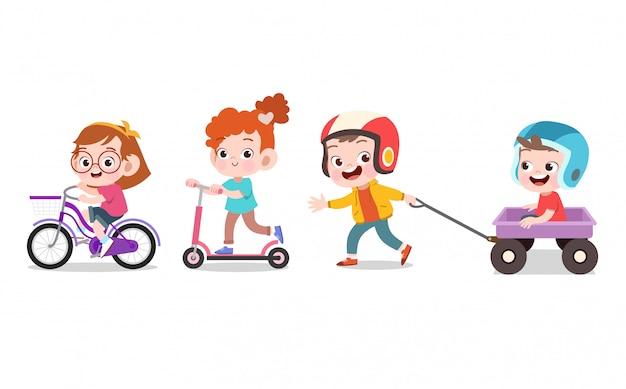 Les Enfants Jouent Ensemble Vecteur Premium
