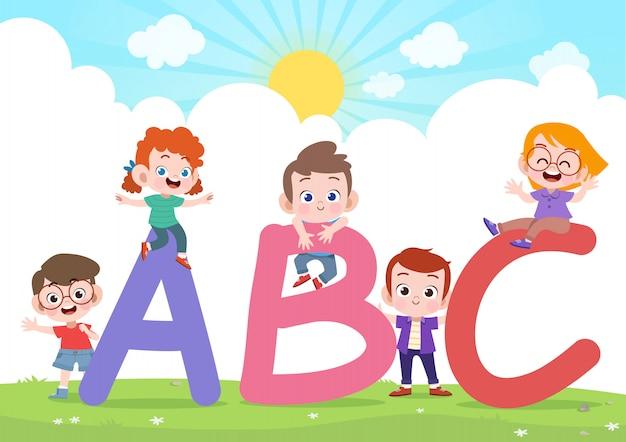 Enfants Jouent Illustration Vectorielle Alphabet Vecteur Premium