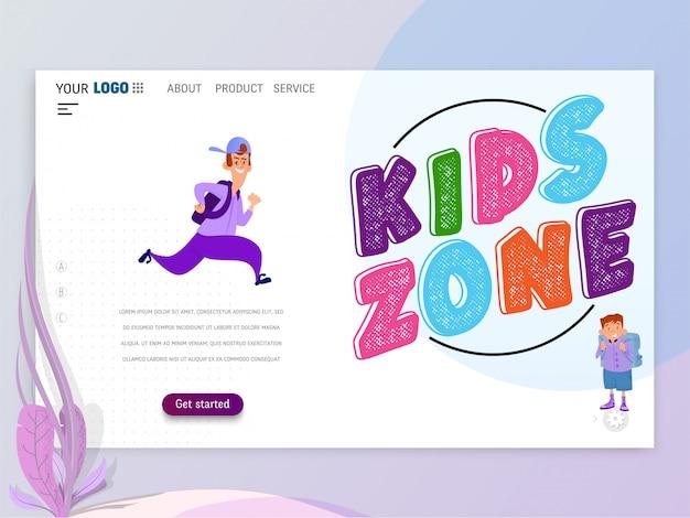 Les enfants jouent à des jeux landing page ou homepage Vecteur Premium