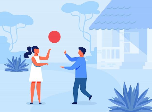 Enfants, jouer, plat extérieur, illustration Vecteur Premium