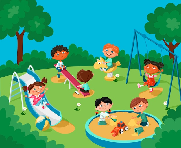 Des Enfants Joyeux S'amusent Sur L'aire De Jeux. Vecteur Premium