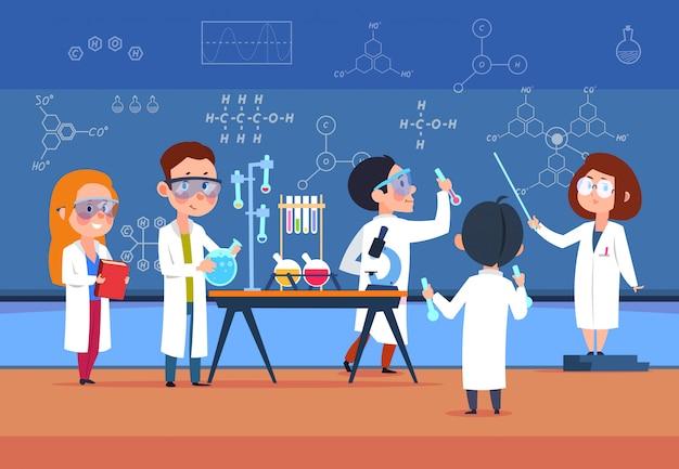 Des Enfants En Laboratoire Scientifique Font Un Test. Vecteur Premium