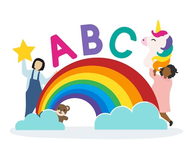 Enfants Avec Les Lettres Abc Vecteur gratuit