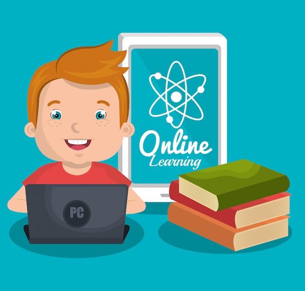 Enfants en ligne Vecteur gratuit