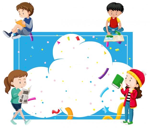 Enfants lisant autour d'un cadre bleu Vecteur Premium
