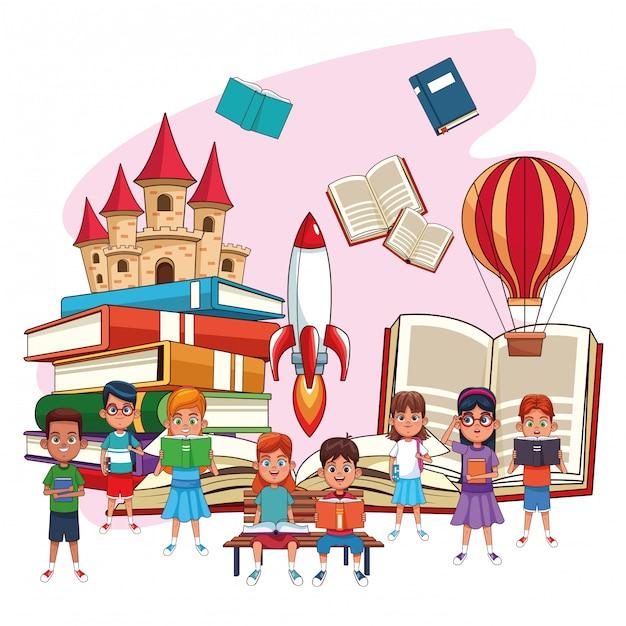 Enfants lisant des contes de fées Vecteur Premium