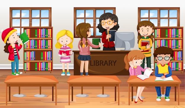 Enfants lisant des livres dans une bibliothèque Vecteur gratuit