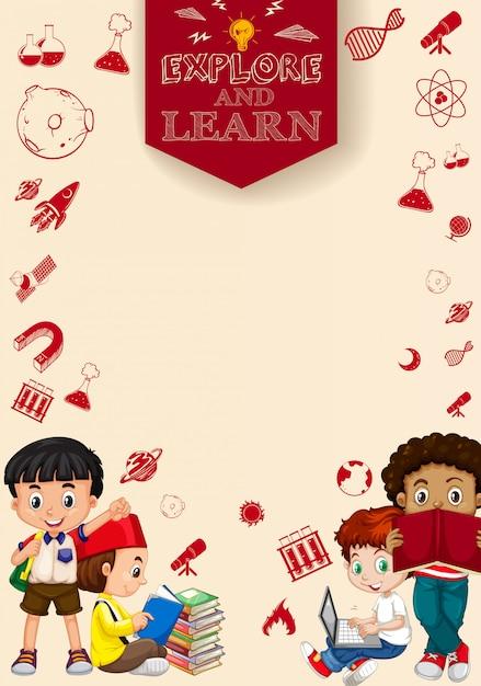 Enfants lisant des livres et utilisant un ordinateur Vecteur gratuit