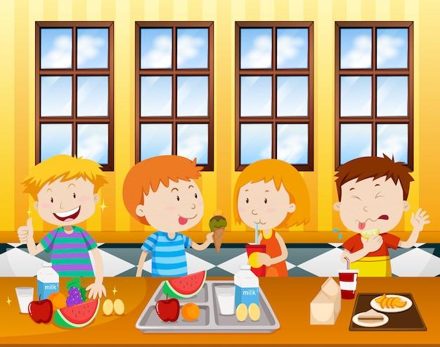 Enfants Mangeant Dans Une Cafétéria Vecteur Premium