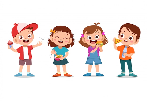 Enfants mangeant de la malbouffe Vecteur Premium