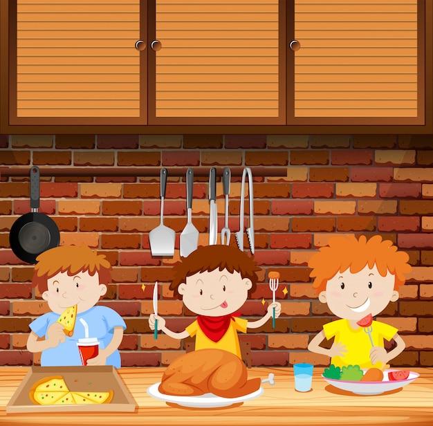 Enfants mangeant un repas ensemble Vecteur Premium