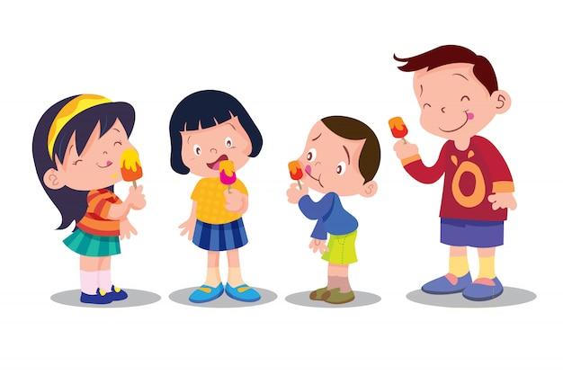 Les enfants mangent de la glace Vecteur Premium