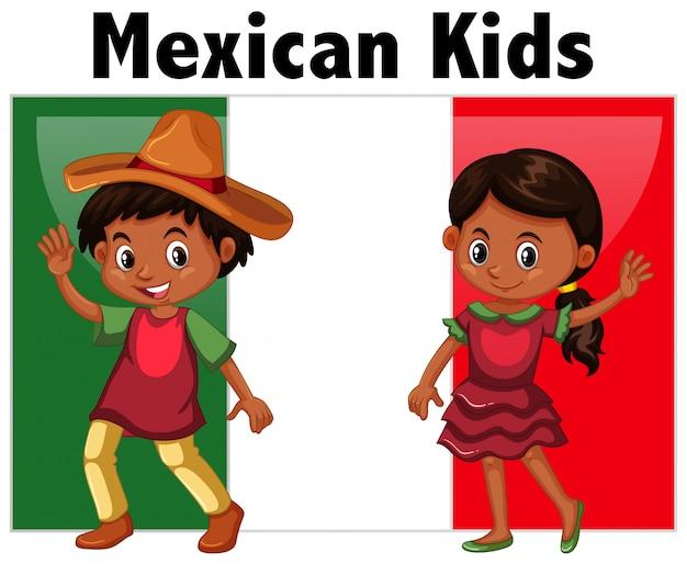 Enfants mexicains avec drapeau Vecteur gratuit