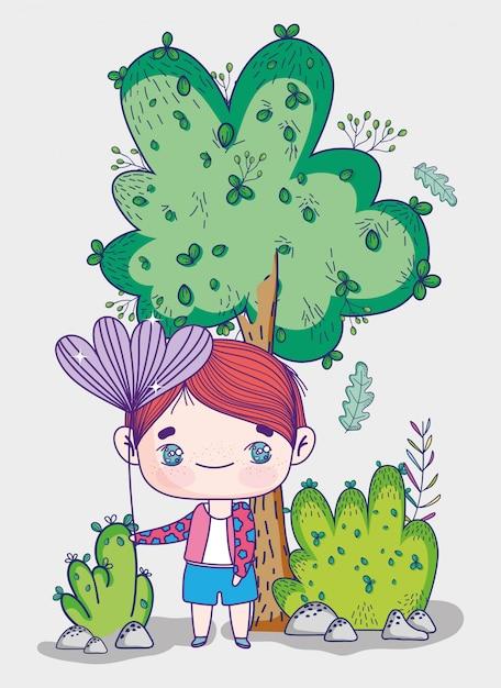 Enfants, Mignon Petit Garçon Avec Des Buissons D'arbres à Fleurs Nature Vecteur Premium
