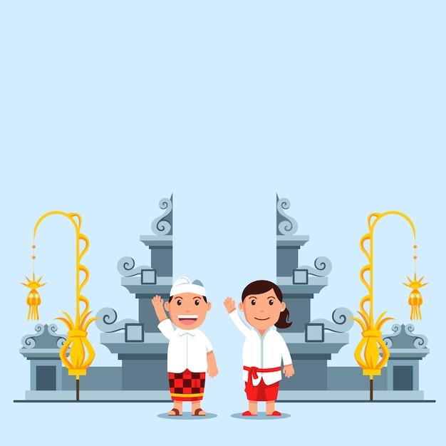 Enfants Mignons De Bande Dessinée En Face De La Porte Du Temple Hindou De Bali Vecteur Premium
