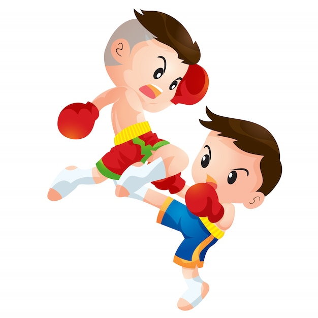 Enfants mignons de boxe thaïlandaise luttant contre le genou Vecteur Premium