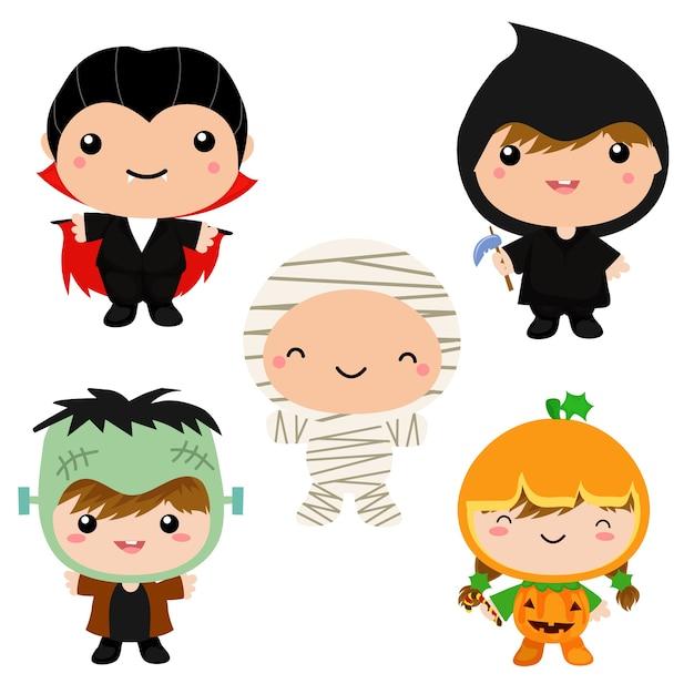 Enfants mignons dans la collection de costumes d'halloween Vecteur Premium