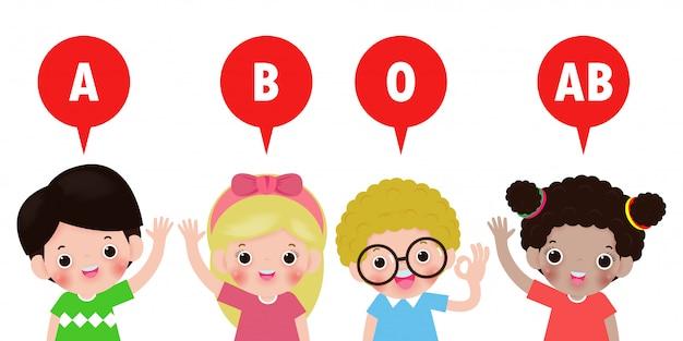 Enfants Mignons Et Groupe Sanguin, Groupe Sanguin Avec Des Enfants Heureux Concept Sain Isolé Sur Fond Blanc Illustration Vecteur Premium