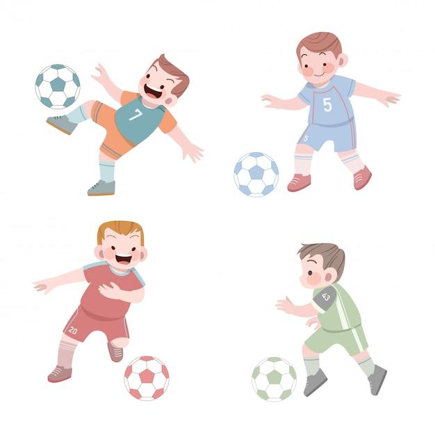 Enfants mignons sport football illustration ensemble Vecteur Premium