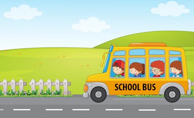 Les enfants montent en bus scolaire Vecteur Premium