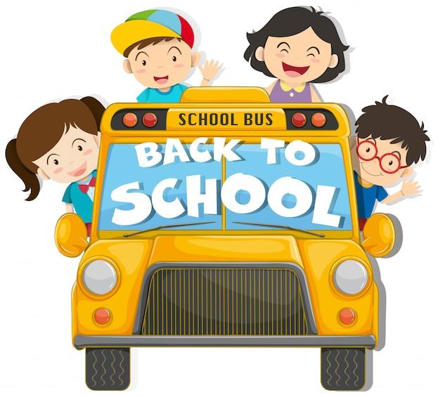 Enfants montés dans l'autobus scolaire Vecteur gratuit