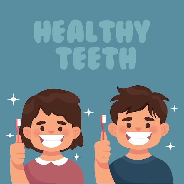 Les enfants montrent leurs dents blanches en bonne santé Vecteur Premium