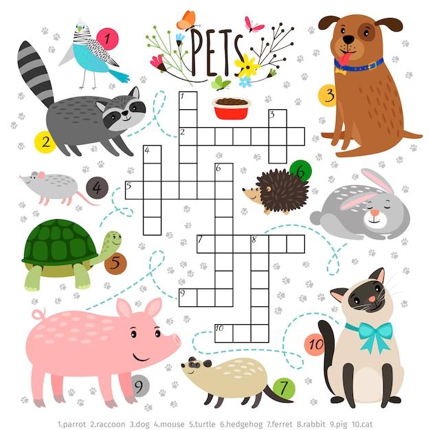 Enfants mots croisés avec des animaux domestiques. les enfants traversent le puzzle de recherche par mot avec des animaux qui tapotent comme le chat et le chien, la tortue et le lièvre Vecteur Premium