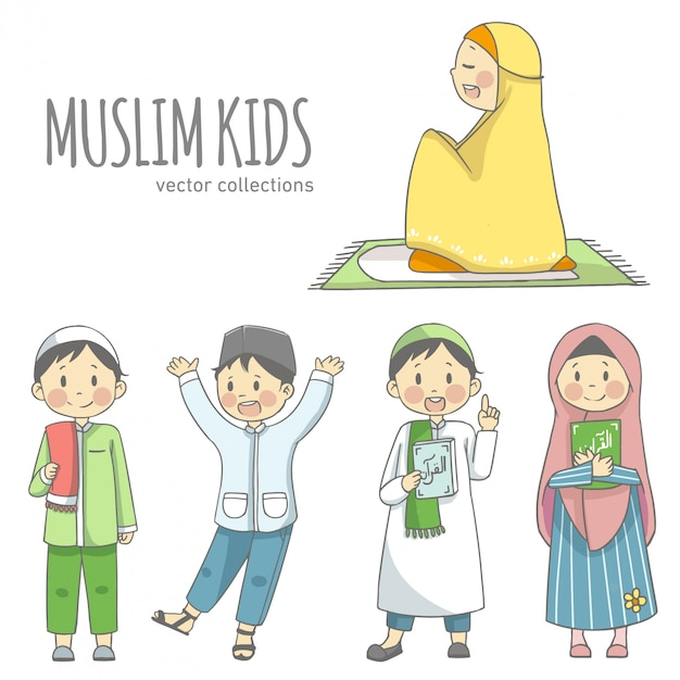Enfants musulmans détenant des collections de vecteurs de caractères coran Vecteur Premium