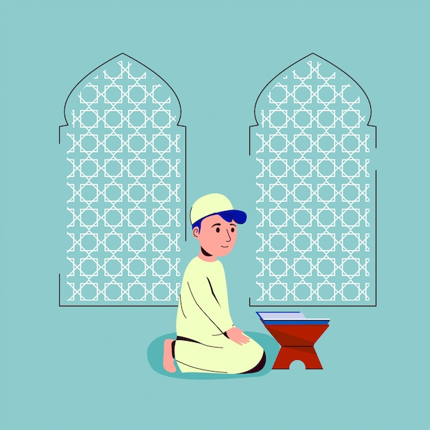 Enfants musulmans priant à la mosquée Vecteur Premium