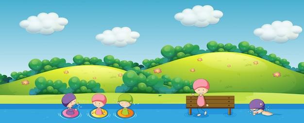 Enfants nageant dans la nature Vecteur gratuit
