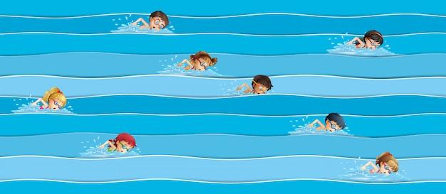 Enfants en natation Vecteur gratuit